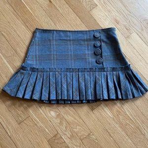 XOXO• Pleated Plaid Mini Skirt• Button Details